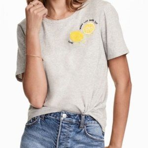 H&M When Life Gives You Lemons Embroidered Tee L